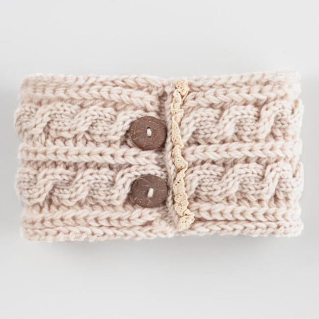 Ivory Cable Knit Headwarmer