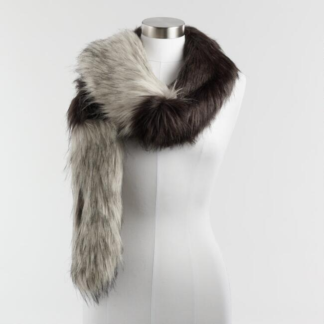 Gray and Black Colorblock Faux Fur Stole