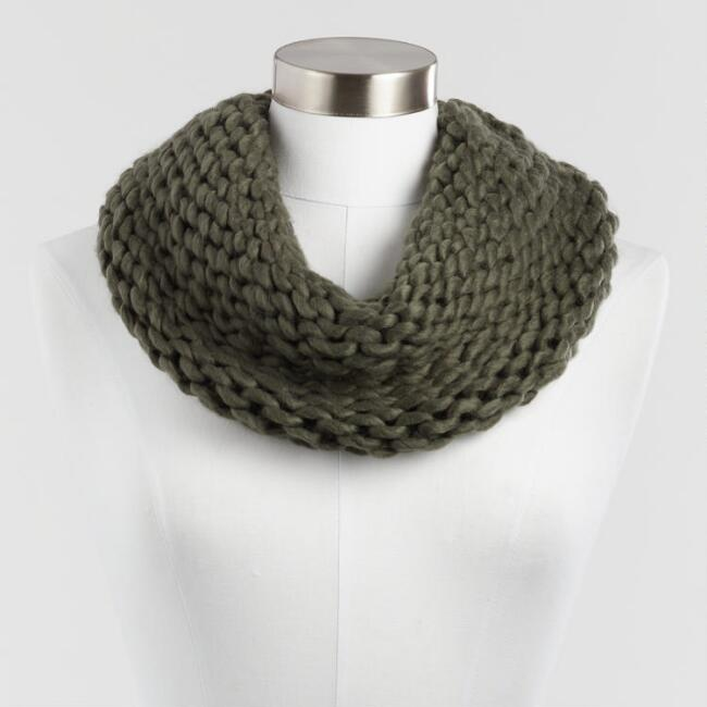Olive Chunky Knit Snood Scarf
