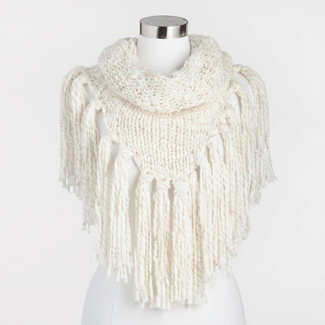 Ivory Knit Poncho Snood Scarf