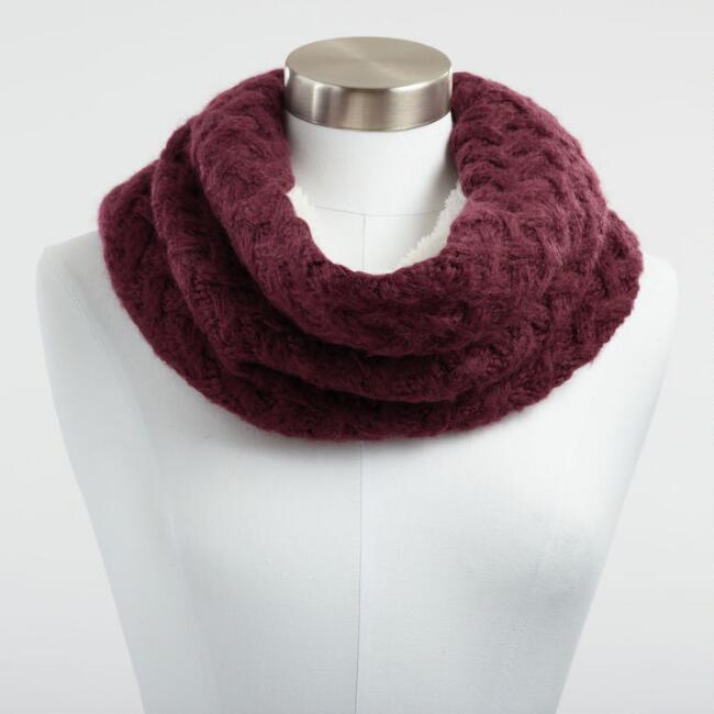 Berry Chunky Knit and Faux Sherpa Snood Scarf