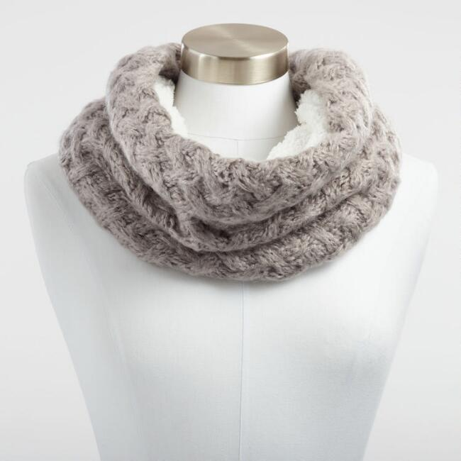 Gray Chunky Knit and Faux Sherpa Snood Scarf