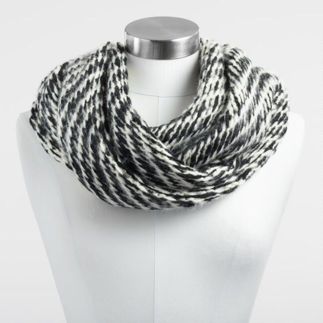 Black and White Reversible Infinity Scarf