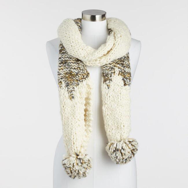 Ivory and Green Chunky Knit Scarf