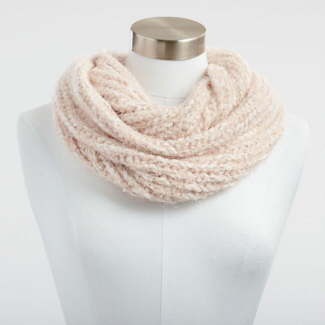 Blush Eyelash Yarn Infinity Scarf
