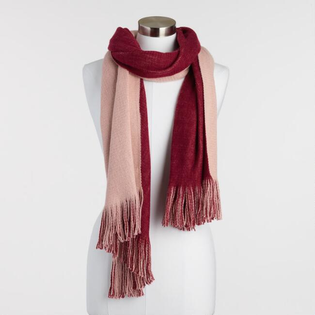 Wine and Blush Reversible Knit Scarf