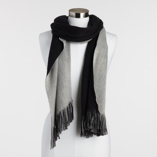 Black and Gray Reversible Knit Scarf