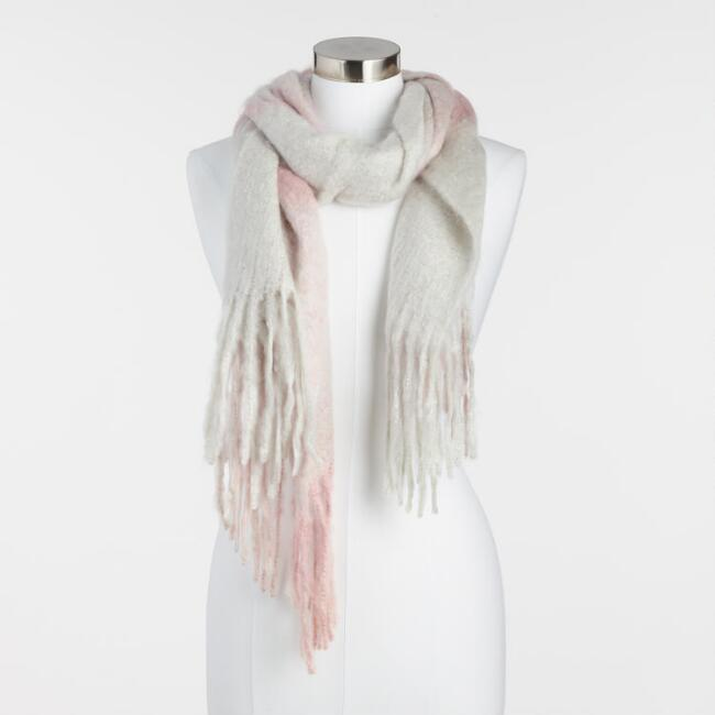 Blush and Light Gray Fuzzy Plaid Scarf