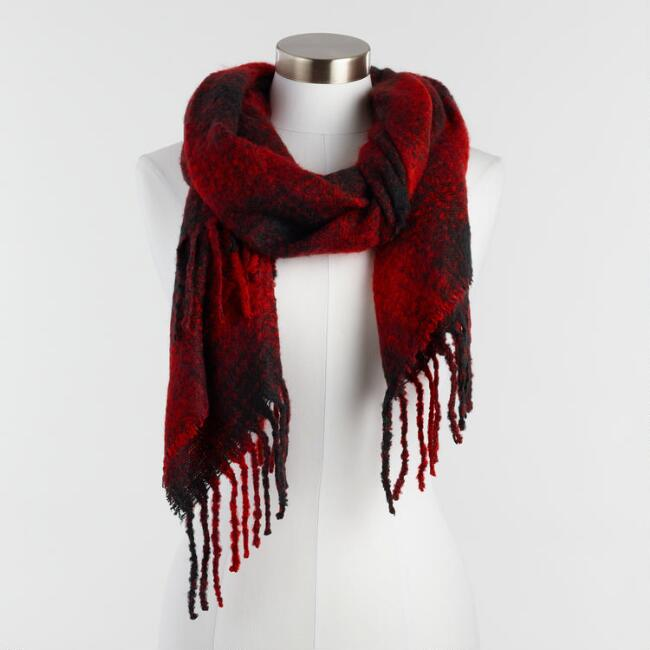 Red and Black Fuzzy Plaid Scarf