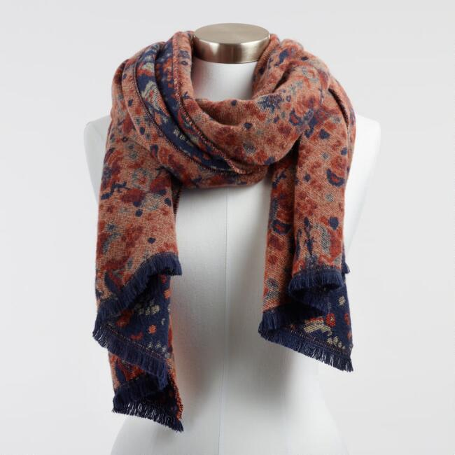 Navy and Rust Floral Tile Reversible Scarf