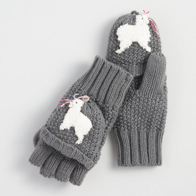 Gray Convertible Llama Gloves