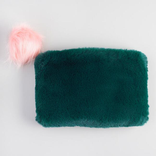 Teal Green Faux Fur Pouch