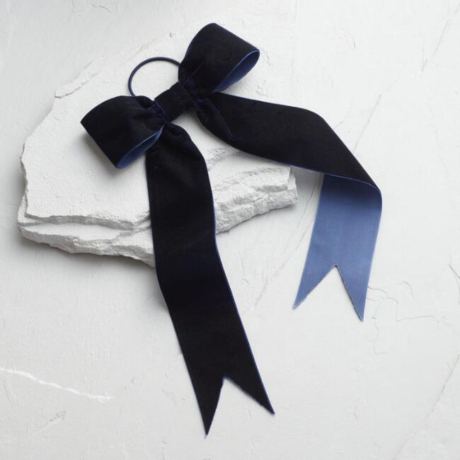 Navy Velvet Bow Hair Tie