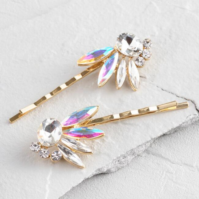 Gold Opaline Jeweled Hairpins Set of 2