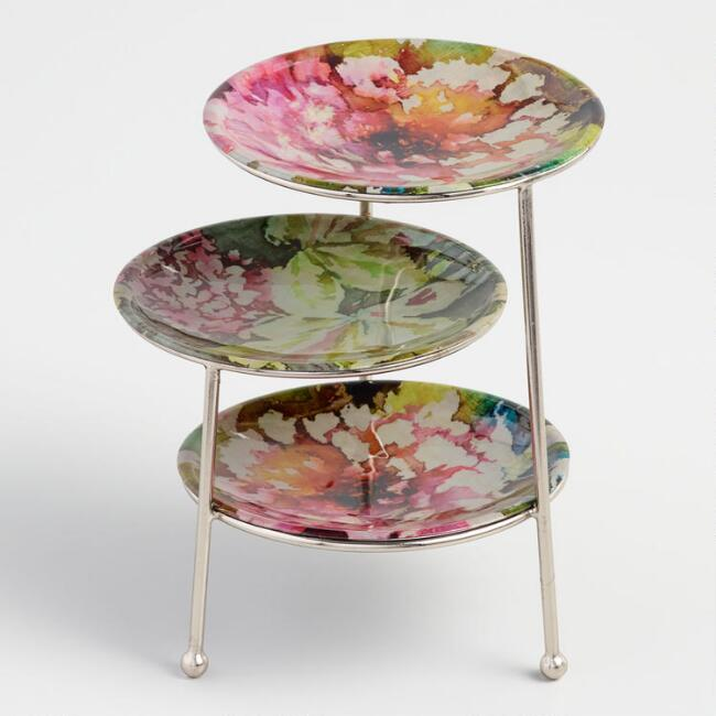 Pink Floral Jewelry Stand
