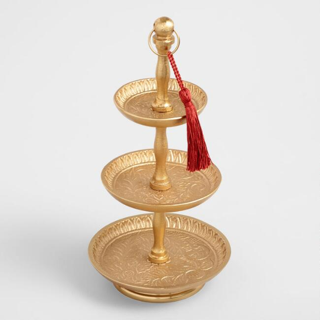 Gold Embossed 3 Tier Jewelry Stand