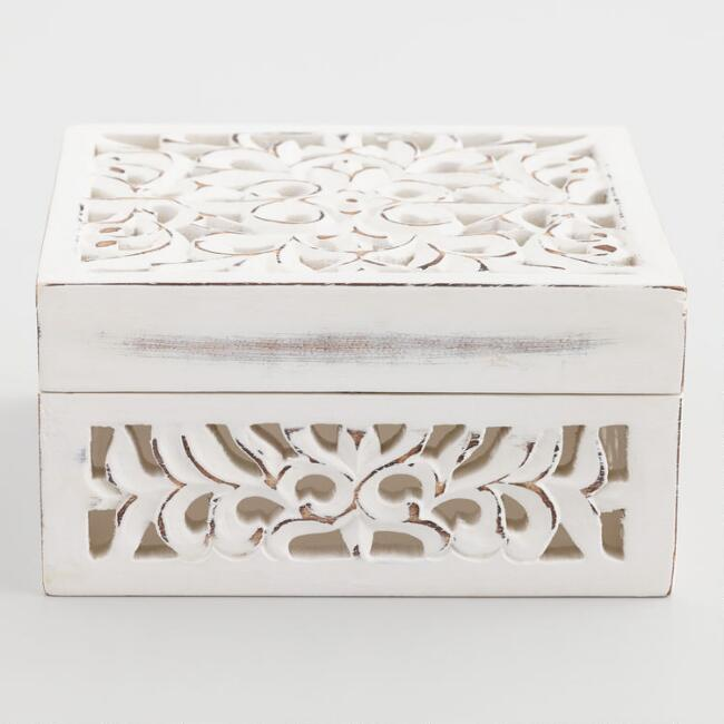 Whitewashed Cutout Wood Jewelry Box