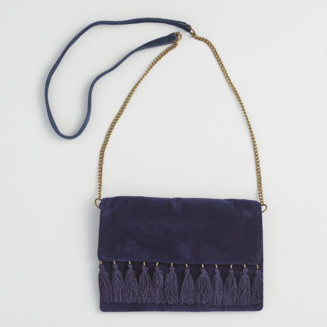 Navy Velvet Tassel Crossbody Bag