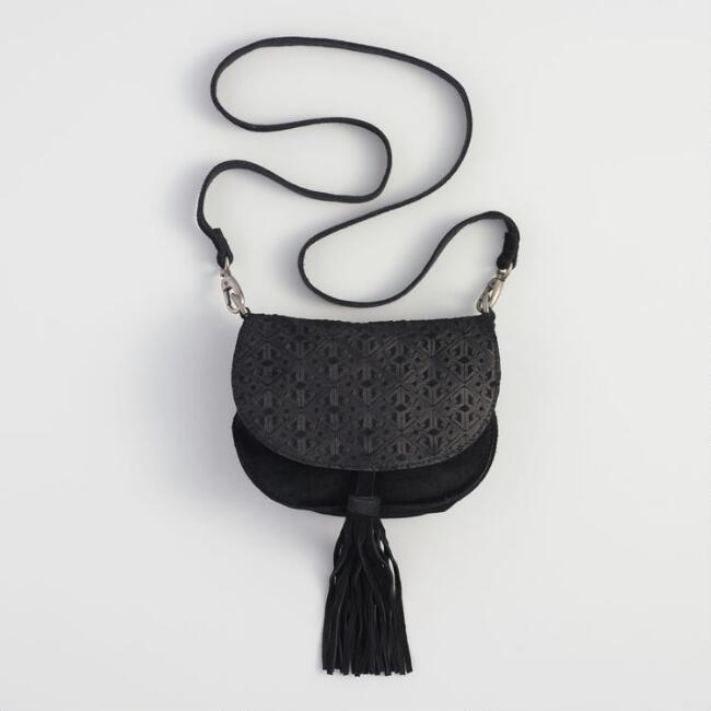 Black Suede Embossed Saddle Bag