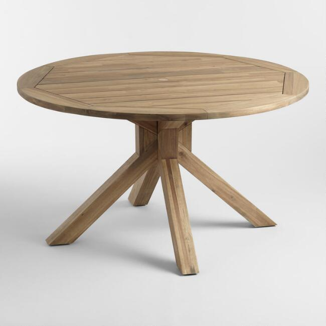 Round Natural Wood Vallarta Outdoor Dining Table