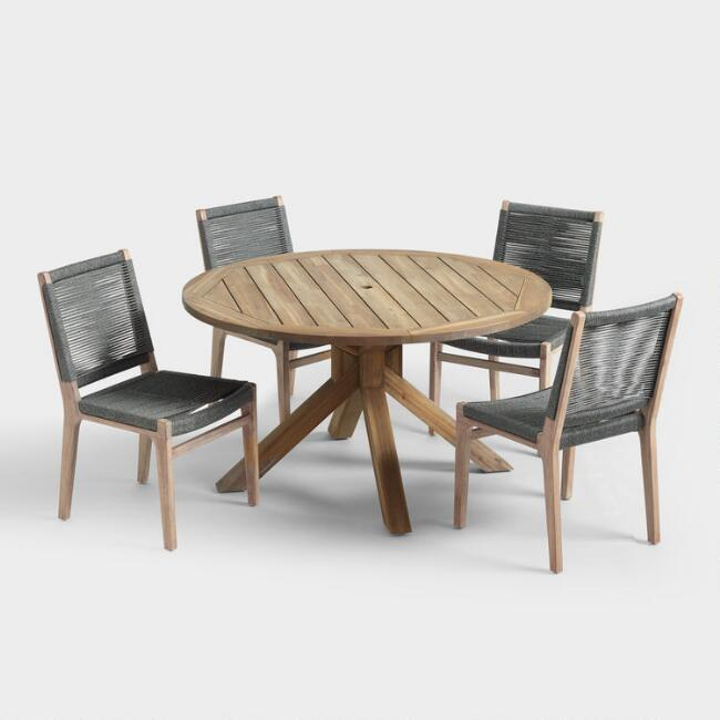 Round Wood Vallarta Table and Gray Rapallo Chair Collection