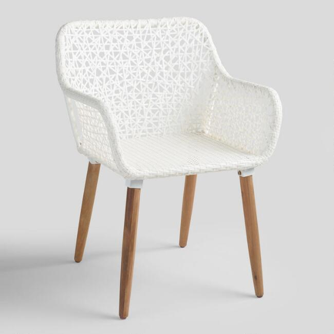White All Weather Wicker Blanca Outdoor Dining Armchair