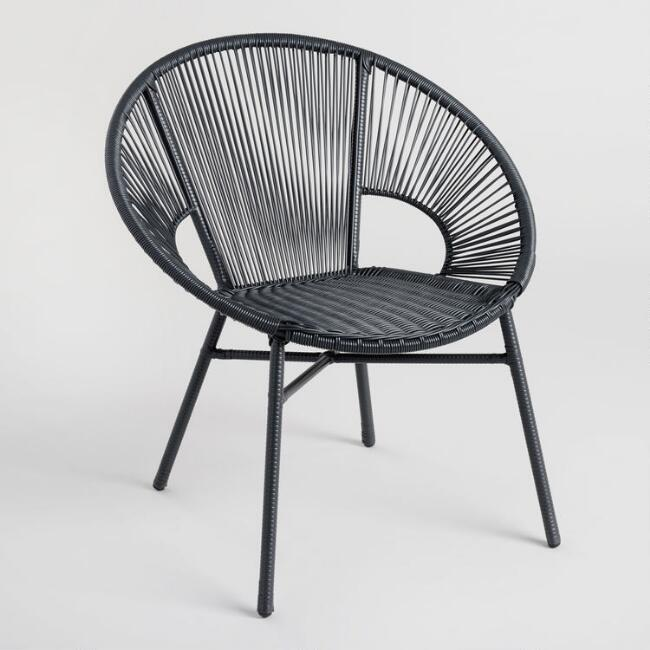 Round Black All Weather Wicker Camden Outdoor Chair