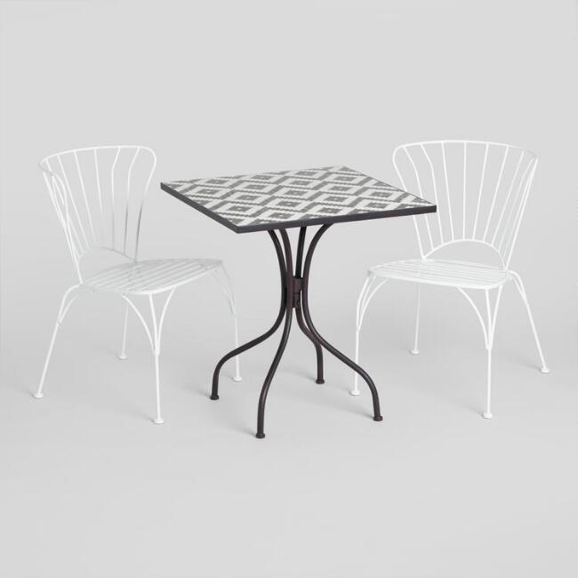 Black and White Cadiz Outdoor Bistro Collection