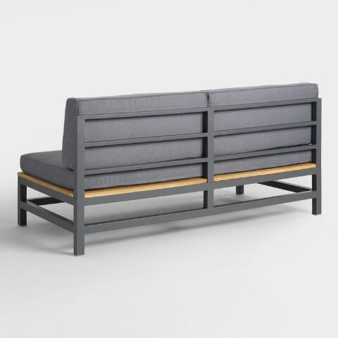 Admirable Gray Wood And Metal Alicante Outdoor Occasional Bench Forskolin Free Trial Chair Design Images Forskolin Free Trialorg