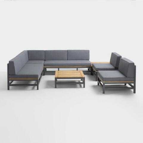 Gray Wood And Metal Alicante Outdoor Sectional Corner