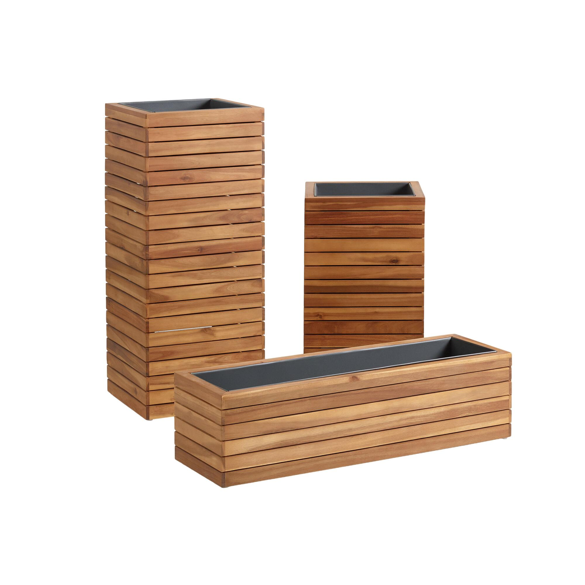 Wood and Metal Alicante Outdoor Patio Planter: Natural - Small by World Market Small