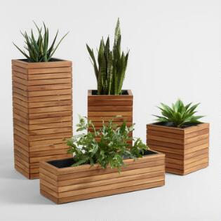 Planters world market wood and metal alicante outdoor planter collection workwithnaturefo