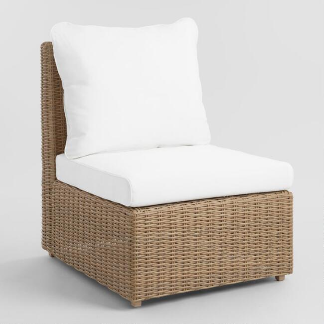 Natural All Weather Veracruz Outdoor Sectional Armless Chair