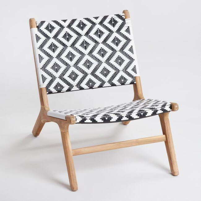 black and white strap girona outdoor accent chairs set of 2 world