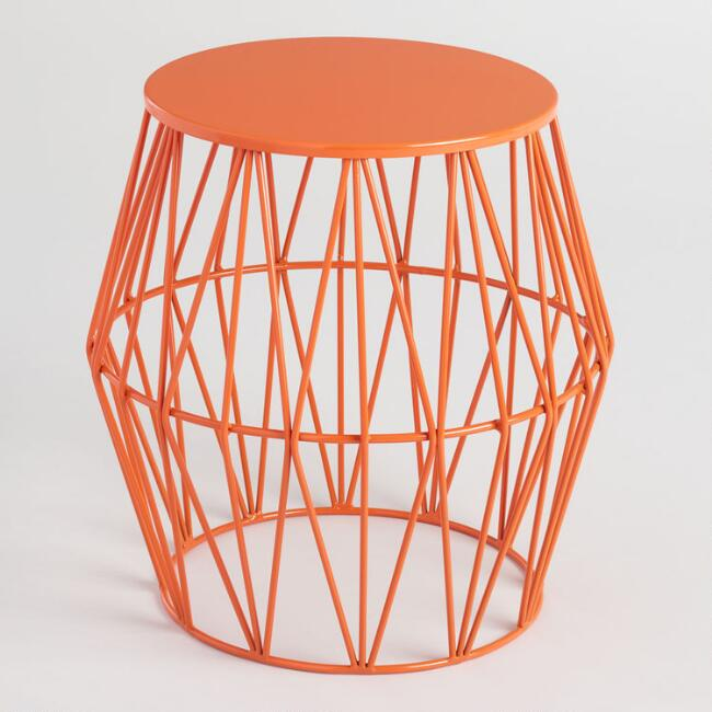 Orange Octavia Faceted Outdoor Stool
