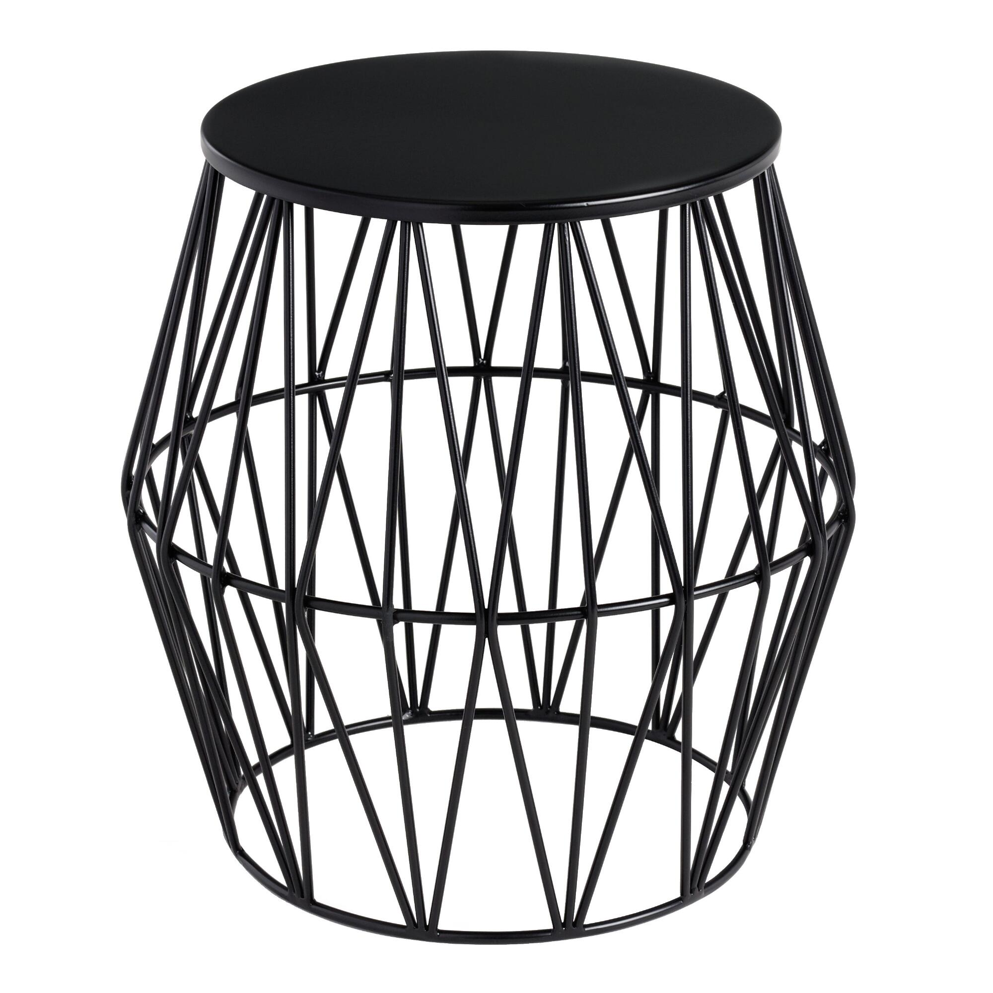 faceted metal octavia outdoor accent stool