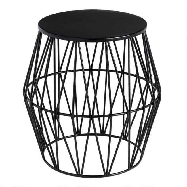 Black Octavia Faceted Outdoor Stool