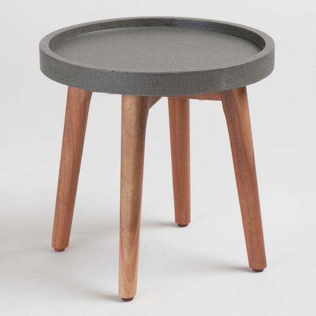 Small Faux Cement Palmera Outdoor Accent Table