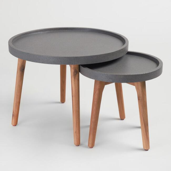 Faux Cement Palmera Outdoor Accent Table Collection
