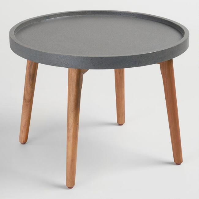 Large Faux Cement Palmera Outdoor Accent Table