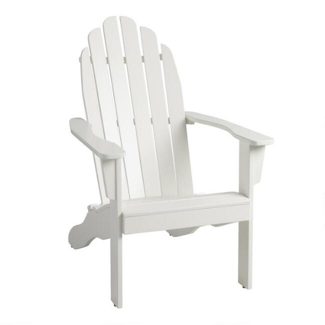 Antique White Wood Adirondack Outdoor Chair