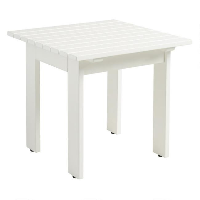 Antique White Wood Adirondack Outdoor Side Table