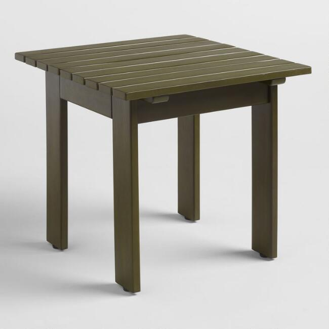 Olive Green Wood Adirondack Outdoor Side Table