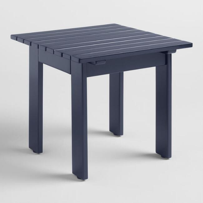 Peacoat Blue Wood Adirondack Outdoor Side Table