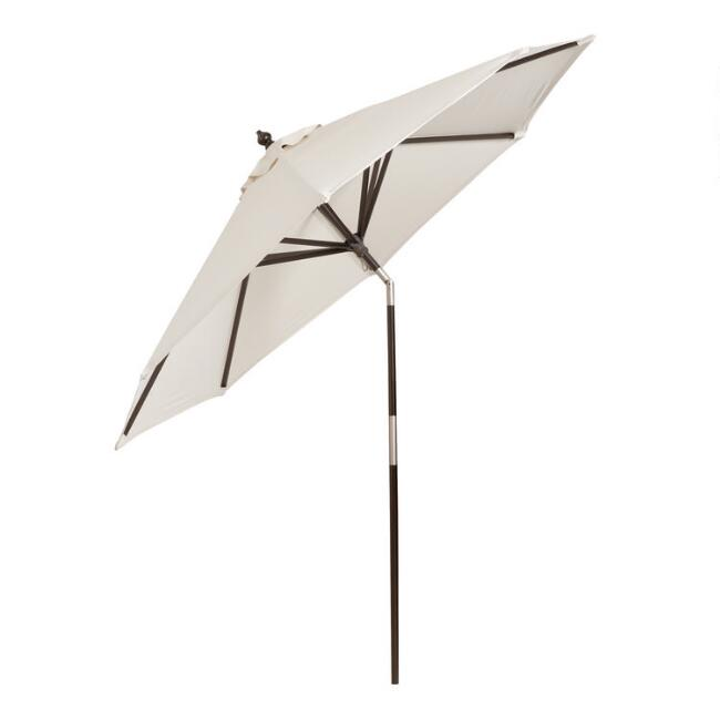 Gray Wood Tilting 9 Ft Outdoor Umbrella Frame And Pole