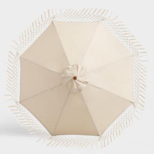 Natural 9 Ft Replacement Umbrella Canopy With Fringe