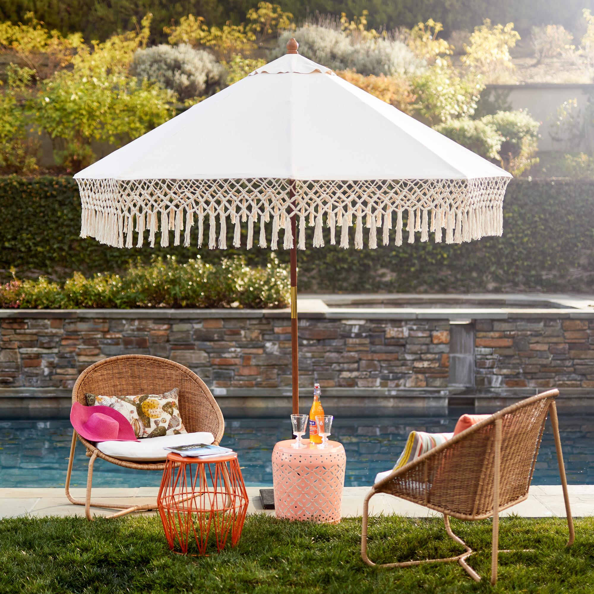 Natural 9 ft outdoor umbrella canopy with fringe world market