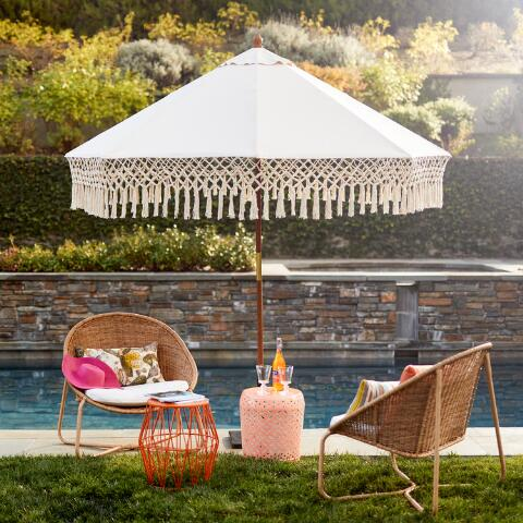 Natural 9 Ft Outdoor Umbrella Canopy With Fringe World