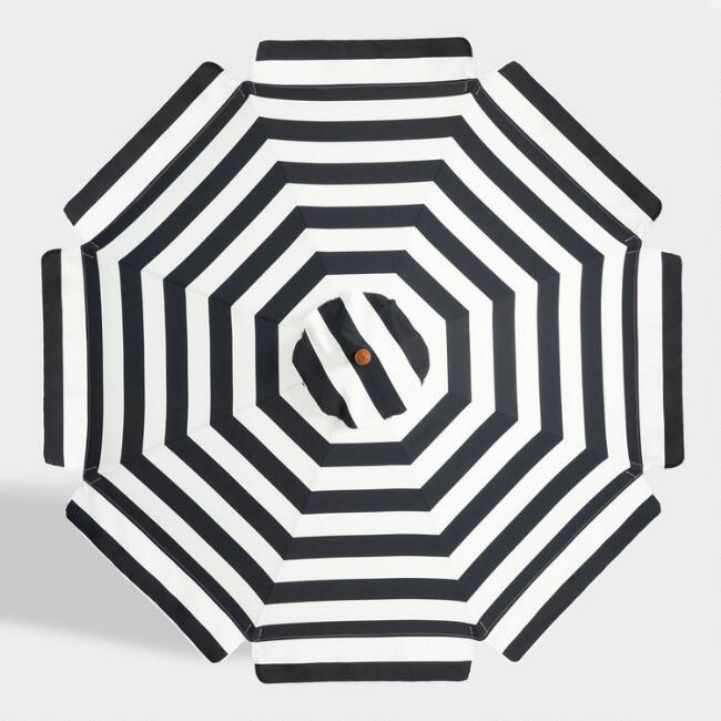 Black And White Scalloped 9 Ft Replacement Umbrella Canopy