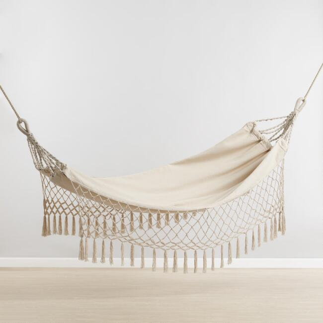 Natural Outdoor Hammock with Fringe
